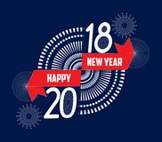 Vector illustration of fireworks. Happy new year 2018 background.  Stock Photography