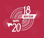 Vector illustration of fireworks. Happy new year 2018 background Royalty Free Stock Images