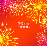 Vector Illustration of Fireworks. Holiday texture Royalty Free Stock Photo