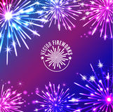 Vector Illustration of Fireworks. Holiday texture Stock Photos