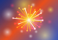 Vector Illustration of Fireworks. Orange and red color Royalty Free Stock Image