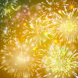 Vector Illustration of Fireworks. Realistic abstract festive background with yellow and red bursts, explosion  Royalty Free Stock Image