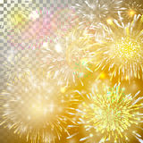 Vector Illustration of Fireworks. Realistic abstract festive background with yellow and red bursts, explosion and sparkle over tra Royalty Free Stock Images