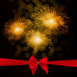 Vector Illustration of Fireworks, Salute with Bow and Ribbon Royalty Free Stock Photography