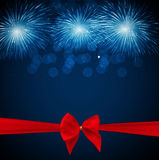 Vector Illustration of Fireworks, Salute with Bow and Ribbon. EPS10 Stock Photo