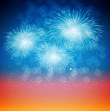 Vector Illustration of Fireworks, Salute on a Dark. Background Royalty Free Stock Images