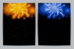 Vector Illustration of Fireworks, Salute on a Dark Background Stock Photos