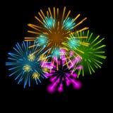 Vector Illustration of Fireworks, Salute on a Dark Stock Image