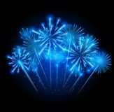 Vector Illustration of Fireworks, Salute on a Dark Royalty Free Stock Photo