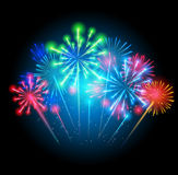 Vector Illustration of Fireworks, Salute on a Dark Stock Photo