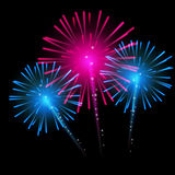 Vector Illustration of Fireworks, Salute on a Dark. Background EPS10 Royalty Free Stock Image