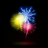 Vector Illustration of Fireworks, Salute on a Dark. Background EPS10 Stock Photo