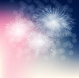 Vector Illustration of Fireworks, Salute on a Dark Stock Images