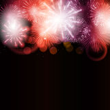 Vector Illustration of Fireworks, Salute on a Dark. Background EPS10 Royalty Free Stock Photos