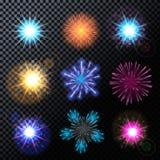 Vector Illustration of Fireworks, Salute Set  Royalty Free Stock Image