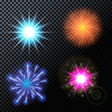 Vector Illustration of Fireworks, Salute on a Transparent Backgr. Ound EPS10 Royalty Free Stock Image