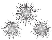 Vector illustration of fireworks set in black color. On white background Stock Photo