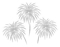 Vector illustration of fireworks set in black color. On white background Stock Photos