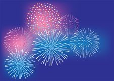Vector Fireworks Background 4th of July, New Years, Christmas colorful background. Vector illustration of fireworks 4th of July, New Years, Christmas colorful Royalty Free Stock Image