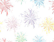 Vector illustration of fireworks on white background. Seamless pattern royalty free illustration