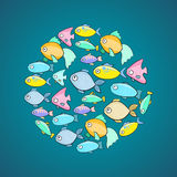 Vector illustration with fish in cartoon style. Fishes in z circle shape Stock Photo