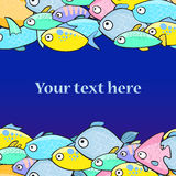 Vector illustration with fish in cartoon style. Vector illustration with fish in cartoon style with place for text Royalty Free Stock Image