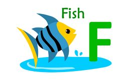 Animal alphabet F.F for fish. Vector illustration of fish with letter f isolated on white background.F for fish Stock Photography