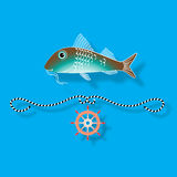 Vector illustration with  fish and nautical design elements Stock Images