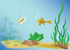 Vector illustration with fish and sea royalty free illustration