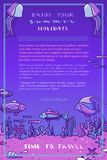 Violet deep underwater ocean background. Royalty Free Stock Image