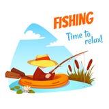 Vector illustration of fisherman in the boat Stock Photo