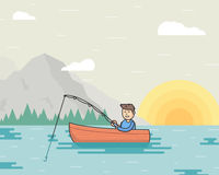 Vector illustration of a fisherman and boat on the. Vector illustration of a fisherman in a boat on the lake. Summertime on the open air. Fishing concept Stock Photos