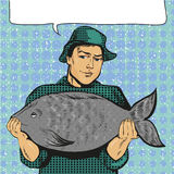 Vector illustration of fisherman holding big fish, pop art style Royalty Free Stock Photo