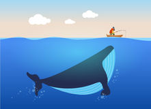 Vector illustration of fisherman and huge whale under water. Creative poster concept. Stock Photo