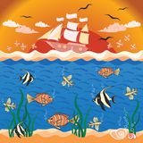 Vector illustration with fishes and ship. Stock Photo