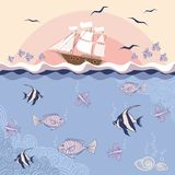 Vector illustration with fishes and ship. Stock Image