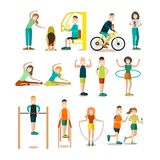 Training outside people vector flat icon set Stock Image