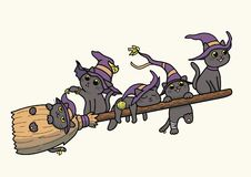 Black witch cats flying on a broomstick – vector cartoon. Vector illustration of five black cats wearing witch hat and flying on a magical broomstick stock illustration
