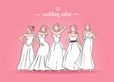 Vector illustration of five brides. There are brides in wedding dress standing on a pink background. The girls in various poses Royalty Free Stock Image