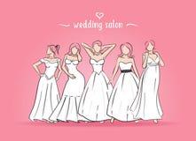 Vector illustration of five brides. vector illustration