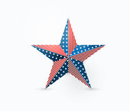 Vector illustration of five-pointed star design with USA flag colors. And symbols in realistic style. Using for national american holidays decoration Royalty Free Stock Image