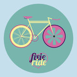 Vector illustration fixed gear bicycle Royalty Free Stock Photo