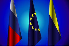 Vector illustration. Flags of Russia, EU, Ukraine, the peace agreement Stock Photos