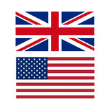 Vector illustration of flags of the US and UK Stock Photography
