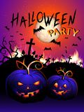 Vector Halloween illustration with flame, pumpkins head, cemetery and text Stock Photos