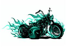 Vector illustration Flaming Bike Chopper Ride Front View royalty free stock photo