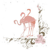 Flamingo and flowers Stock Photography