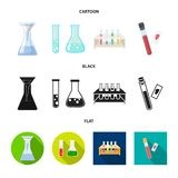 Vector design of flask and laboratory sign. Set of flask and equipment vector icon for stock. Vector illustration of flask and laboratory logo. Collection of stock illustration