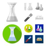 Vector design of flask and laboratory symbol. Set of flask and equipment stock symbol for web. Vector illustration of flask and laboratory sign. Collection of vector illustration