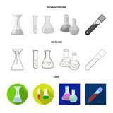 Vector illustration of flask and laboratory sign. Collection of flask and equipment stock symbol for web. Isolated object of flask and laboratory logo. Set of stock illustration